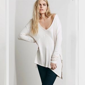 Free People Sunset Park Thermal Top Medium Blush